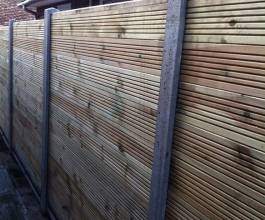 Slotted posts with decking panels  Thumbnail