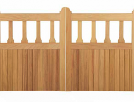Flat Topped Driveway Gate with Shaped Balustrades Thumbnail